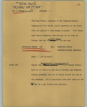 Primary view of object titled '[News Script: Humphrey]'.