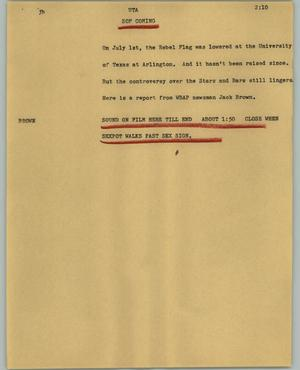 Primary view of object titled '[News Script: UTA]'.
