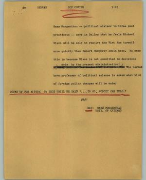 Primary view of object titled '[News Script: German]'.