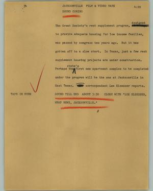 Primary view of object titled '[News Script: Jacksonville]'.