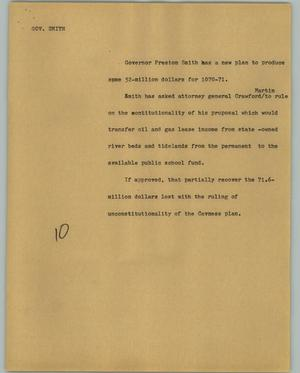 Primary view of object titled '[News Script: Gov. Smith]'.