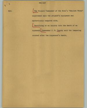 Primary view of object titled '[News Script: Sea-Lab]'.