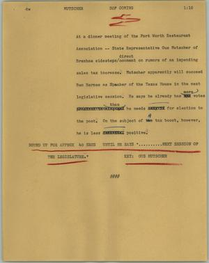Primary view of object titled '[News Script: Mutscher]'.
