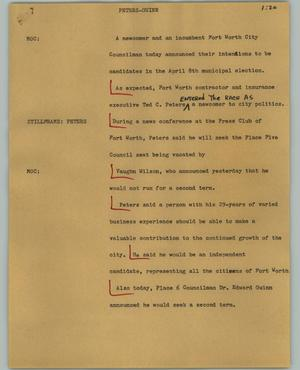 Primary view of object titled '[News Script: Peters-Guinn]'.