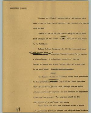 Primary view of object titled '[News Script: Narcotics charges]'.