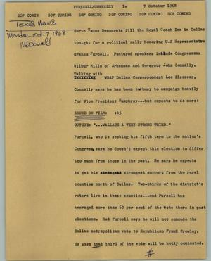 Primary view of object titled '[News Script: Purecell/Connally]'.
