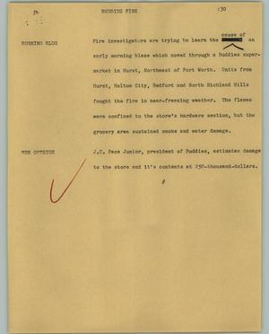 Primary view of object titled '[News Script: Buddies fire]'.