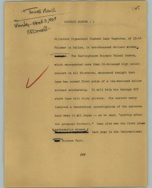 Primary view of object titled '[News Script: Contest winner]'.