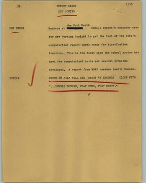 Primary view of object titled '[News Script: Report cards]'.