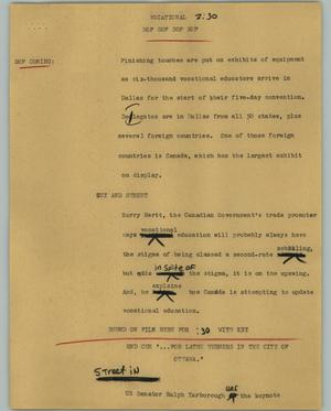 Primary view of object titled '[News Script: Vocational]'.