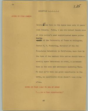 Primary view of object titled '[News Script: Scientist]'.