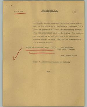 Primary view of object titled '[News Script: Legislative]'.