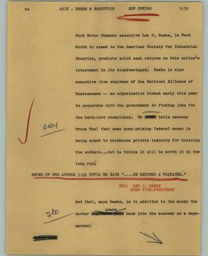 Primary view of object titled '[News Script: ASIS - Beebe & Narcotics]'.