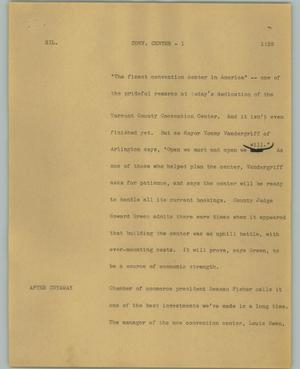 Primary view of object titled '[News Script: Conv Center]'.