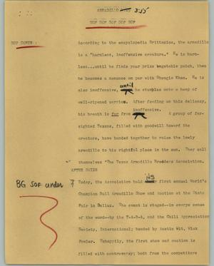 Primary view of object titled '[News Script: Armadillo]'.