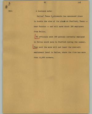 Primary view of object titled '[News Script: TI]'.
