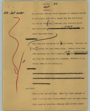 Primary view of object titled '[News Script: Man Day]'.