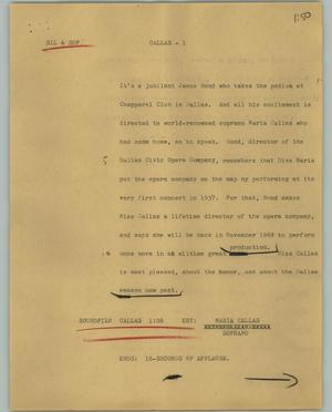 Primary view of object titled '[News Script: Callas]'.