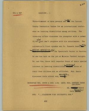 Primary view of object titled '[News Script: Learning]'.