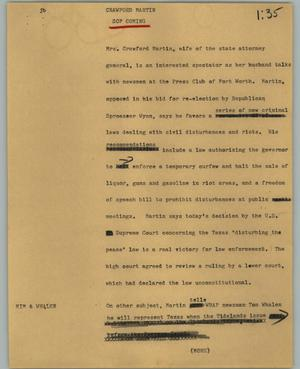 Primary view of object titled '[News Script: Crawford Martin]'.