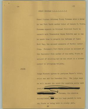 Primary view of object titled '[News Script: Percy Foreman]'.