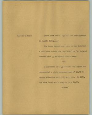 Primary view of object titled '[News Script: Legislation]'.