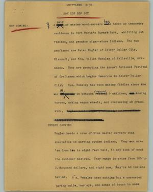 Primary view of object titled '[News Script: Whittlers]'.
