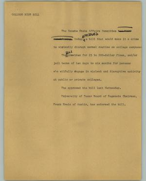 Primary view of object titled '[News Script: College riot bill]'.