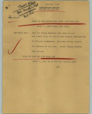 Primary view of object titled '[News Script: Politics]'.