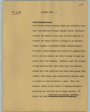 Primary view of object titled '[News Script: Colonel Jogs]'.