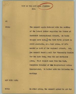 Primary view of object titled '[News Script: Text of Two City Hall Standups]'.