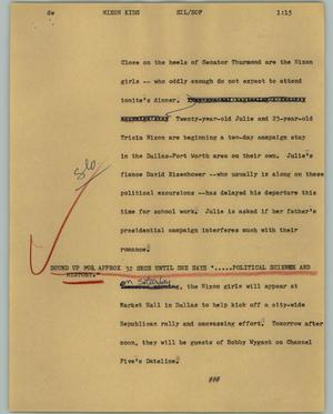 Primary view of object titled '[News Script: Nixon Kids]'.