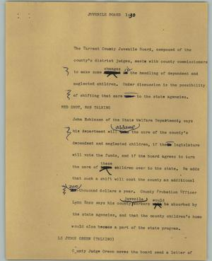 Primary view of object titled '[News Script: Juvenile board]'.