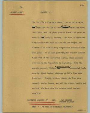 Primary view of object titled '[News Script: Cliburn]'.