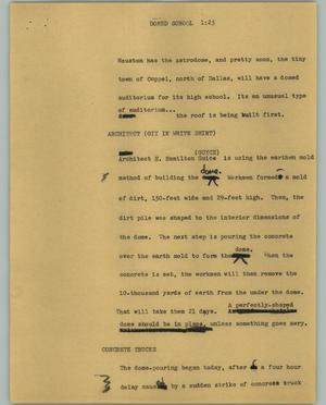 Primary view of object titled '[News Script: Domed School]'.