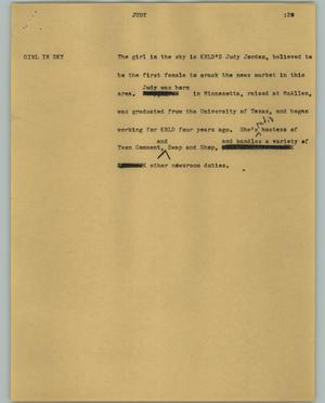 Primary view of object titled '[News Script: Judy]'.