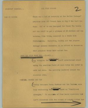 Primary view of object titled '[News Script: Cowboys' rookies]'.