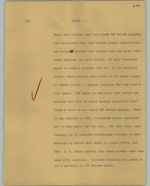 Primary view of object titled '[News Script: Goals]'.