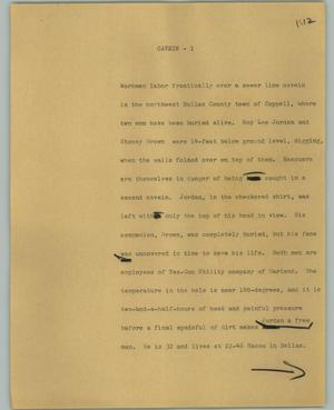 Primary view of object titled '[News Script: Cavein]'.