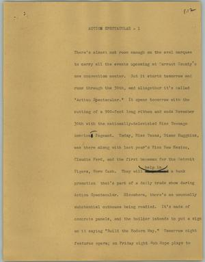 Primary view of object titled '[News Script: Action spectacular]'.