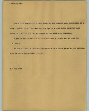 Primary view of object titled '[News Script: Bond charges]'.