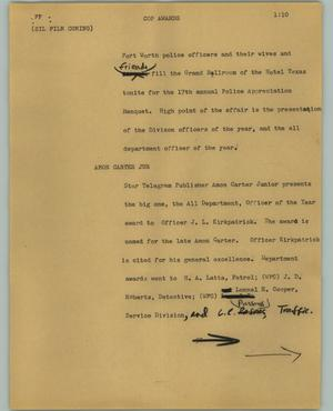 Primary view of object titled '[News Script: Cop Awards]'.