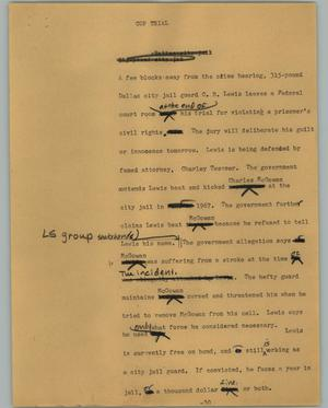 Primary view of object titled '[News Script: Cop trial]'.