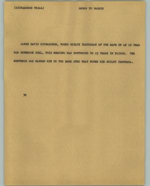 Primary view of object titled '[News Script: Richardson trial]'.