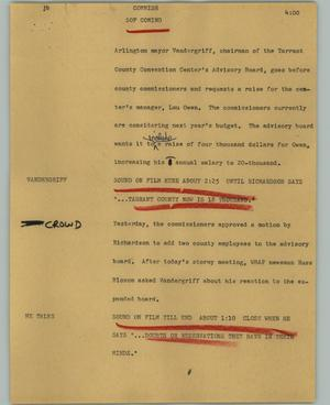 Primary view of object titled '[News Script: Commish]'.