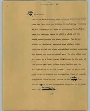 Primary view of object titled '[News Script: Stringfellow]'.