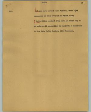 Primary view of object titled '[News Script: Mafia]'.