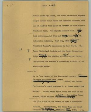 Primary view of object titled '[News Script: WBAP]'.