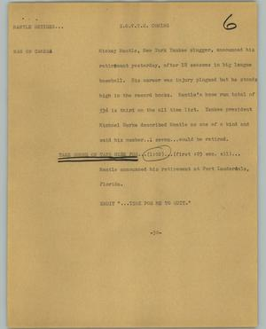 Primary view of object titled '[News Script: Mantle retires]'.
