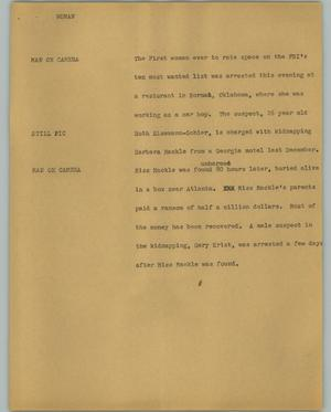 Primary view of object titled '[News Script: Woman]'.